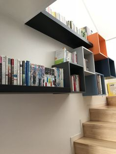 small home library using ikea eket & lack. book shelf, stairs small home library using ikea eket & lack. Home Design, Home Library Design, Home Office Design, Design Ideas, Interior Design, Ikea Living Room, Ikea Bedroom, Living Room Interior, Ikea Eket