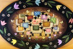 Folk Art Painting Sheep Tulips Oval Plate by RavensBendFolkArt