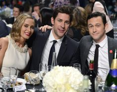 Say cheese! Joseph Gordon-Levitt joins up with his A-lister pals Emily Blunt and John Krasinski for a photo op at the Critics' Choice Movie Awards.