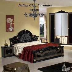 Stella Black & Gold Bedroom Set with 4 Door Wardrobe. From Italian Chic Furniture UK. Made in Italy. Italian Bedroom Sets, Italian Bedroom Furniture, Bedroom Furniture For Sale, Black And Grey Bedroom, White Bedroom Decor, Bedroom Sets For Sale, Dressing Table Design, Value City Furniture, Italian Chic