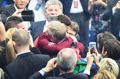 Cristiano Ronaldo hugs Alex Ferguson after the Euro 2016 final on Sunday