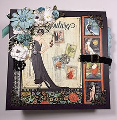 "Aloha! Here is an 8.25 x 8.25 mini album using the GORGEOUS Graphic 45 ""Couture"" paper collection. I used (3) 8""x8"" paper pads and (1) 6""x6"" paper pads. The ..."