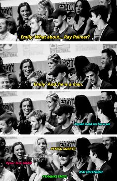 Emily Bett Rickards ♥ (when asked about Felicity's love interest; Oliver vs. Barry)
