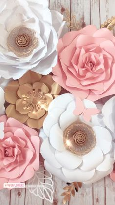 Large Paper Flower Wall Decor, White Pink Gold Floral Backdrop, Girl Room Decoration, Nursery Wall Flower - - Extra Large paper flowers wall decor Flower nursery decor White Pink Gold paper flower backdrop Baby girl nursery wall h Hanging Paper Flowers, Paper Flower Arrangements, Flower Arrangement Designs, Paper Flowers Craft, Large Paper Flowers, Paper Flower Wall, Flower Decorations, Diy Flowers, Wall Flowers