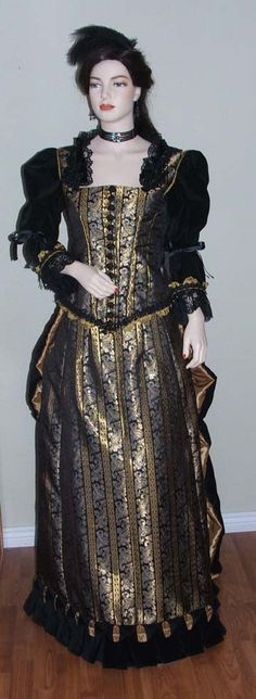 Black and Gold Brocade Evening Gown, Late Bustle 1882-1889