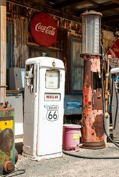 Gas Pumps Route 66 Hackberry Springs Arizona Canvas Print / Canvas Art by Robert Ford Old gas pumps on historic scenic Route 66 at Hackberry Springs General Store in Arizona. Old Gas Pumps, Vintage Gas Pumps, Posters Vintage, Vintage Signs, Route 66 California, Pompe A Essence, Old Gas Stations, Old Country Stores, Filling Station