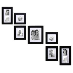 Adeco Decorative Black Wood Wall Hanging Photo Frame Set with Mat (Black,), Size (MDF) Picture Frame Layout, Wall Collage Picture Frames, Wall Hanging Photo Frames, Hanging Pictures, Frames On Wall, Picture Wall, Collage Pictures, Collage Ideas, Black Picture
