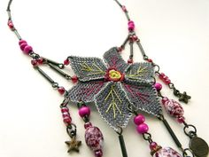 Needlework necklace with hexagonal star flower from by MsPolite