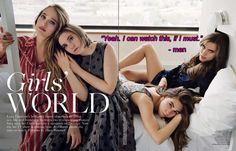 The cast of HBO series Girls: Jemima Kirke, Lena Dunham, Zosia Mamet, and Allison Williams. Girls Hbo, Miss Girl, Lena Dunham, Vogue Uk, Girls World, Showgirls, Your Girl, Girl Crushes, Beautiful People