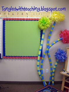 Use pool noodles to make Dr. Seuss truffula trees for your Dr. Seuss theme classroom!