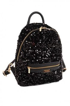Black backpack, made of pu leather, sequin, with decorative details and detachable strap. Comes with protective dust bag. Famous Brands, Black Backpack, Pu Leather, Fashion Backpack, Dust Bag, Burberry, Addiction, Fall Winter, Louis Vuitton