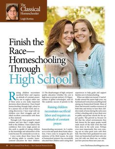 Finish the Race - Homeschooling Through High School -  The Old Schoolhouse Magazine - 2013 Annual Print Book - Page 66-67