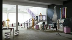 Office & Workspace:Delightful Light Brown Carpets On Contemporary Office Of Art And Fashion With Modern White Chair With White Work Desk Table And Purple Stairs And Pink Low Folding Cabinet Black White Wall Design With Glass Window Virtuosity Henrique Steyer: Fantastic Contemporary Workspace designs