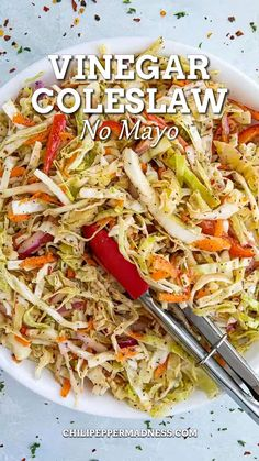 Coleslaw is often prepared with mayo for more of a creamy coleslaw, but vinegar-based coleslaw is becoming more and more popular. You'll find it more in the southern U.S., though it is thankfully working its way northward. I have a creamy coleslaw recipe that is mayo based that you may want to try if you prefer your coleslaw with mayo, but if you prefer the oil and vinegar version, here you go! Potluck Recipes, Salad Recipes, Cooking Recipes, Healthy Recipes, Ww Recipes, Oil And Vinegar Coleslaw, Vinegar Based Coleslaw Recipe, Barbecue Side Dishes, Best Side Dishes