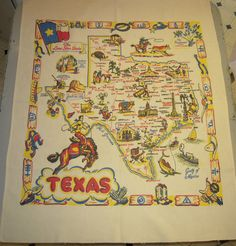 Vintage Souvenir Tablecloth TEXAS & Cowboys by unclebunkstrunk, $84.99
