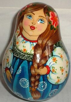 Gorgeous WOODEN MUSICAL DOLL ROLY POLY GIRL UKRAINIAN ART