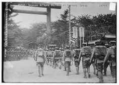 Japanese soldiers attend festival at Yasukuni Shrine, 1916
