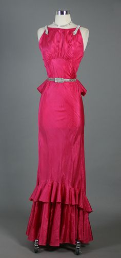 1930s Rhinestone Trimmed Cocktail Party Dress