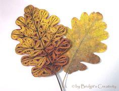 Ein Quilling Eichenblatt mit dem Original Eichenblatt. A Quilling oak leaf with the original oak leaf.