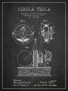1898 Nikola Tesla Electric Circuit Controller Patent. #patentprints#patentart#patentartprints #agedpixel #tesla