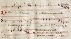 Manuscript of Gilles de Bins dit Binchois' De plus en plus se renouvelle in black mensural notation