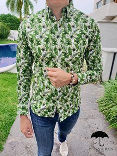 Outfit para hombre  camisa slim fit verde de hojas 037090a0f7657