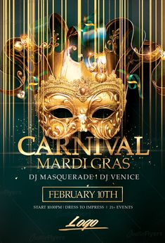 "Creative Mardi Gras Flyer Psd Templates""Perfect to promote your Carnival Party ! Enjoy downloading the Premium Photoshop Mardi Gras Flyer Psd Templates by CreativeFlyers. #mardigras #carnival #flyers #posters #templates #creative #flyer #mardigras2018 #creativeflyers"