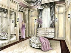 Master closet rendering by Amy Barton Master Closet, Walk In Closet, Interior Design Presentation, Dressing Room Design, Perspective Drawing, Dream Closets, Sweet Home, New Homes, Illustrations