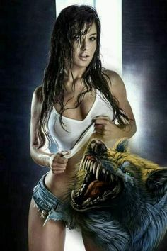 Wolf Images, Wolf Pictures, Comic Pictures, Fantasy Art Women, Fantasy Girl, Dark Fantasy, Wolves And Women, Abstract Face Art, Native American Girls