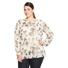 Women's Plus Size Long Sleeve Print Blouse - Merona™