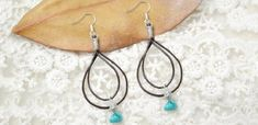 How to Make Double Drop Leather Earrings with Turquoise | Jewelry Pinn