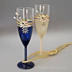 Champagne Flute Wedding Glasses Beach Wedding Blue Gold