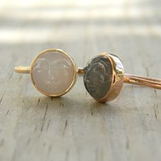 moonstone man in the moon ring (14 kt gold)