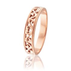 J1101 - Australian Made Ladies #Wedding Rings. Filigree design in Pink #Gold. www.pwbeck.com.au