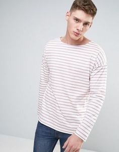 ASOS Oversized Stripe Long Sleeve T-Shirt With Boat Neck