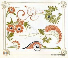 Art nouveau plant and flower graphics design.