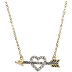 Juicy Couture Heart and Arrow Wish Necklace ($48) ❤ liked on Polyvore featuring jewelry, necklaces, accessories, colares, gold, gold tone necklace, chain necklace, gold heart necklace, heart pendant and heart pendant necklace