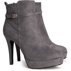 H&M Ankle boots (49 BRL) ❤ liked on Polyvore featuring shoes, boots, ankle booties, heels, ankle boots, booties, grey, high heel bootie, heeled booties and grey boots