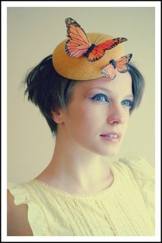 Cocktail hat The Monarch yellow tweed by RedDragonflyAKATOMBO, £75.00