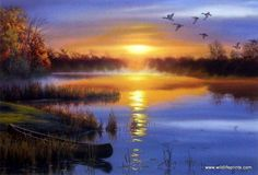 Darrell Bush's AUTUMN SOLITUDE is a print of a peaceful autumn evening scene with Canadian geese flying over a lake where a canoe is tied up to shore. The open edition print comes in an unframed image