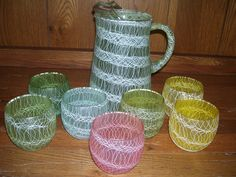 Vintage Mid Century Spaghetti String Pitcher 7 Roly Poly Tumblers Shat R Pruf | eBay