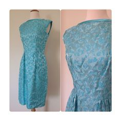 3f1fd3ca38ff 20% OFF   50s/60s Snowflake Princess Icy Blue Floral Brocade Wiggle Dress  Holiday