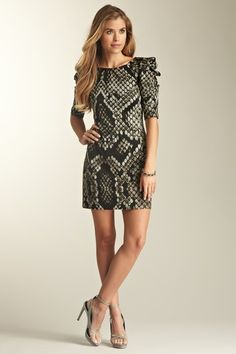 Jessica Simpson Ruched Sleeve Snake Print Dress