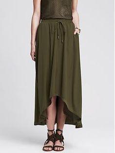 Heritage High/Low Midi Skirt | Banana Republic