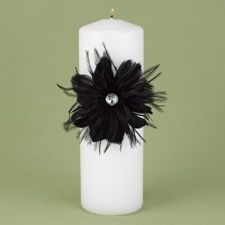 Feathered Flair Unity Candle - Black