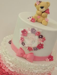 Ombre Ruffle Christening Cake - Cake by Shereen