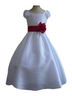 Classykidzshop White Taffetta Wedding Flower Girl Dress with Colorful Sash - Red Sash 2T Classykidzshop,http://www.amazon.com/dp/B0076398MU/ref=cm_sw_r_pi_dp_TGItsb0F58BTF65S