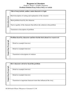literary analysis essay graphic organizer teacherspayteachers  proposing a solution essay topic ideas problem solving essay introduction problem solving essay what