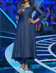 Cute Nyla Usha in blue kurti Salwar Designs, Kurta Designs Women, Kurti Designs Party Wear, Kurti Neck Designs, Dress Neck Designs, Latest Kurti Designs, Simple Kurti Designs, Indian Designer Outfits, Designer Dresses