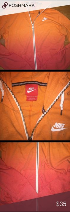 Nike ombré zip up Orange and reddish Nike ombré zip up... size small only worn a couple of times! Nike Tops Sweatshirts & Hoodies
